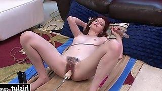 Hot hairy brunette gets machine fucked