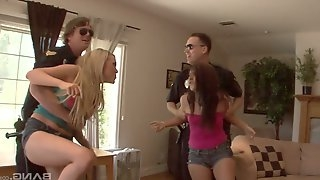 Arrested chicks Ashli Orion and her nasty GF give a blowjob to policemen