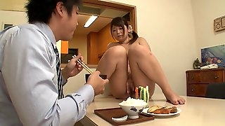 Haruki Sato and her partner playing with food in a nasty way