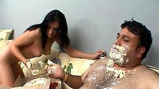 Fat guy talks naughty Shay Lamar into pleasing his hard cock