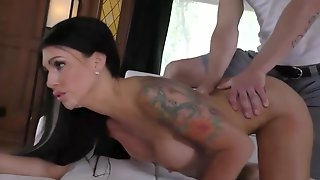 Melissa Lynn is fucking two guys while her partner is watching her and jerking off like crazy