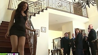 Several horny dudes fuck deep throat and anal hole of naughty seductress Sheena Ryder