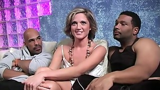 Blond bitch Spring Thomas hooks up with two big black guys