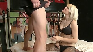 Good looking blondie Raven Dawn in fishnet stockings having sex