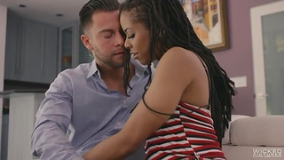 Black panther Kira Noir is making love with her characterless lover with big gumshoe