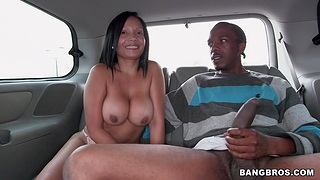 Busty chick Casandra likes playing with a black dick in the car