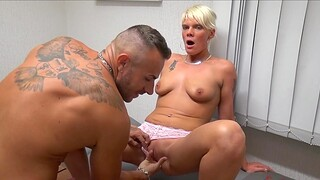 Balls licking MILF Stacey enjoys having threesome in the office